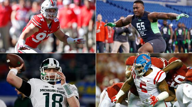 Clockwise, from top left: 2016 draft prospects Joey Bosa, Noah Spence, Robert Nkemdiche and Connor Cook.