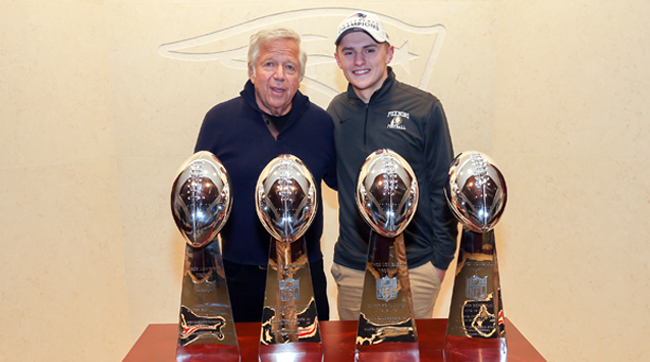 New England Patriots owner Robert Kraft and Foxborough High quarterback Mark Clagg.