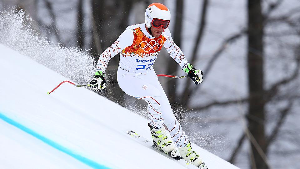 Bode Miller finished a disappointing eighth in the men's downhill event.