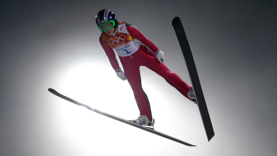 American Sarah Hendrickson took the first jump in the women's ski jumping event, finishing 21st overall.