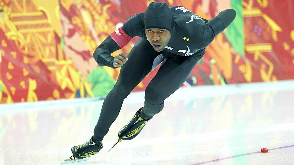 Shani Davis finishes a disappinting eighth in the 1000 meters, after winning gold at the 2006 and '10 Winter Olympics.