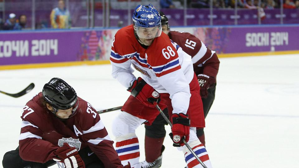 Jaromir Jagr has already matched his Olympic-best goal total with two in just two games for the Czech Republic.