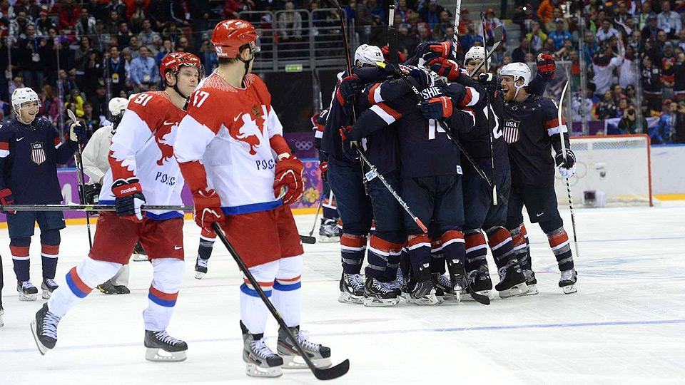 Team USA celebrates T.J. Oshie's fourth shootout goal, which sealed the victory over Russia.