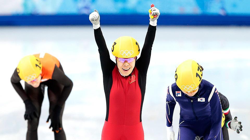 China's Zhou Yang wins gold in women's short track 1500 meters