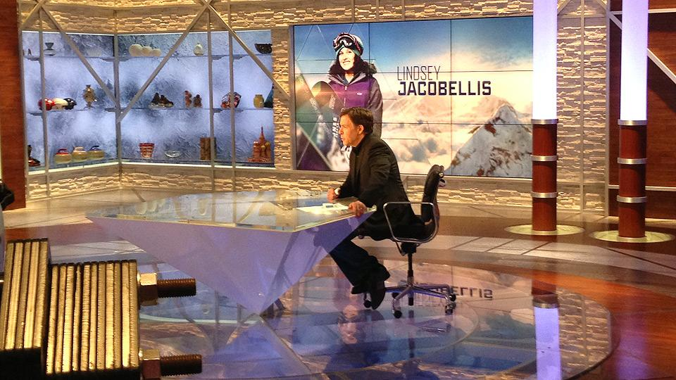 Bob Costas warms up in the NBC studios at the Sochi Olympics. He'll return to hosting NBC Olympics Primetime on Monday, Feb. 17.