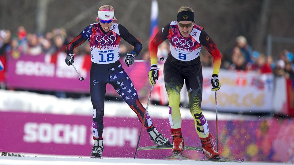 U.S. cross-country skier Kikkan Randall (left) failed to make it out of the quarterfinals in her best event, the 1.3-kilometer freestyle sprint, but is keeping her head up.
