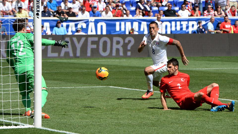 Clint Dempsey pounces on a Turkish defensive mistake to poke home the USA's second goal in Sunday's 2-1 win at Red Bull Arena.