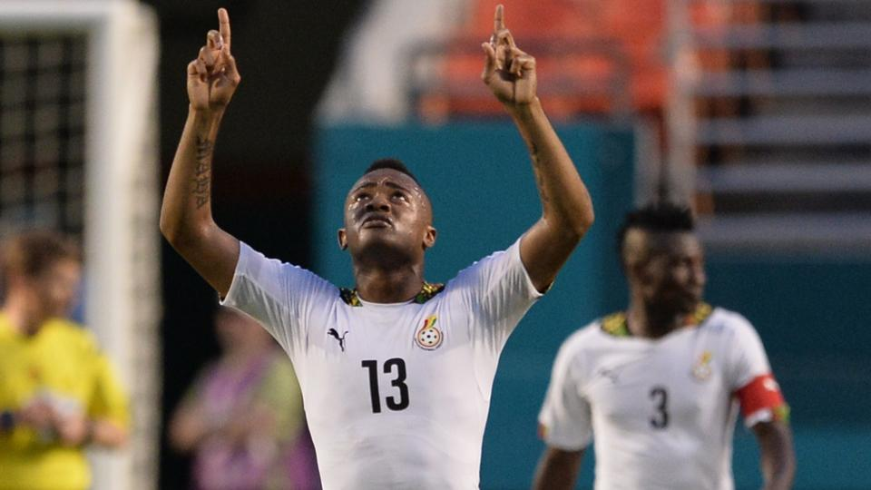 Jordan Ayew points to the heavens after one of his three goals in Ghana's 4-0 rout of South Korea in a pre-World Cup friendly in Miami.