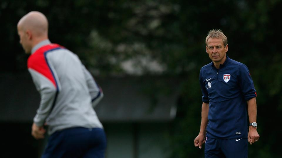 The pressure is on manager Jurgen Klinsmann, right, and midfielder Michael Bradley, left, to take points off Ghana in Monday's World Cup opener.