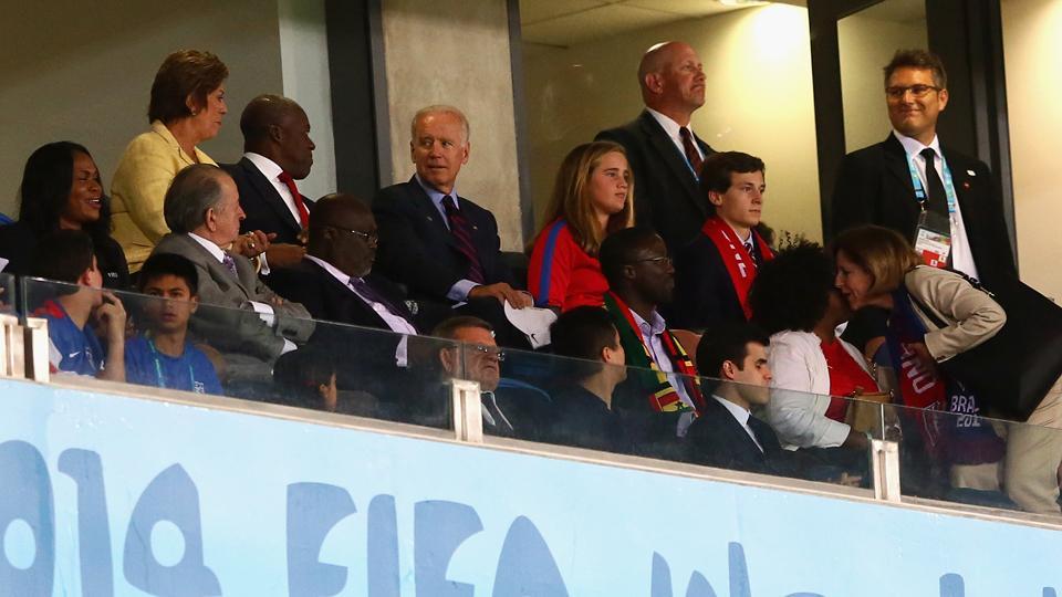 U.S. Vice President Joe Biden, back center, takes in the USA's 2-1 win over Ghana in Natal, Brazil on Monday night.
