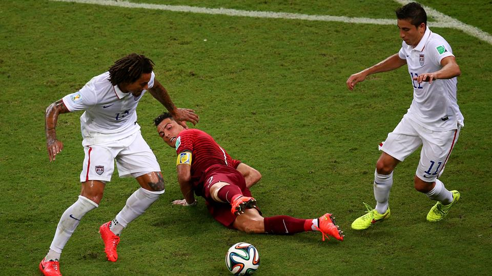 The USA did a decent job of bottling up Cristiano Ronaldo, center, but the Portugal star was still able to contribute the match-tying cross at the death.