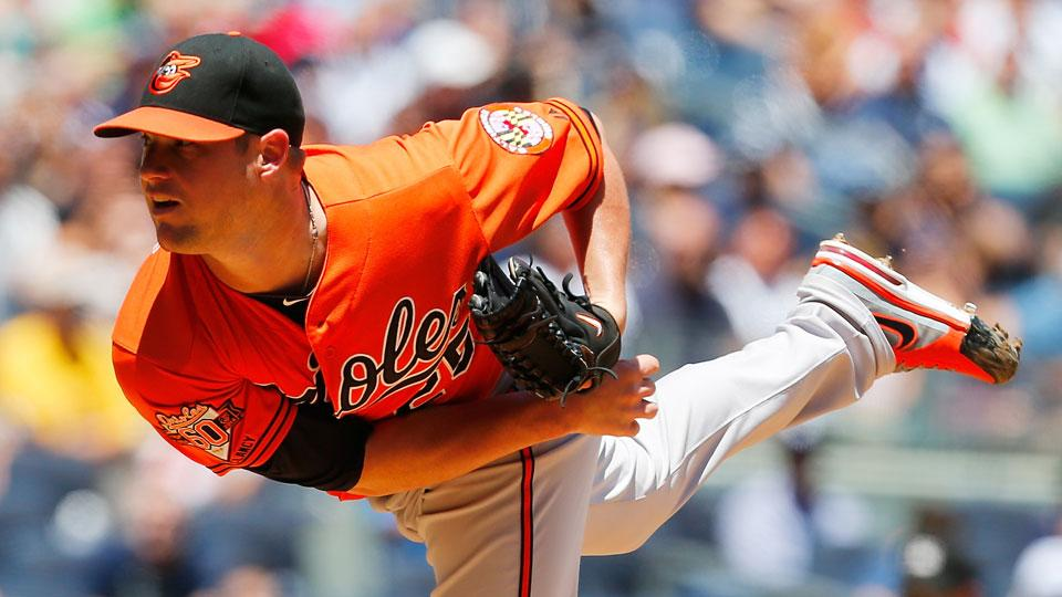 Orioles pitcher Bud Norris leads the team in wins (7) and earned run average (3.62) this season.