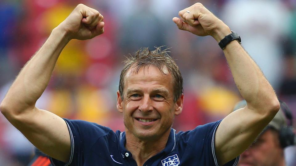 Jurgen Klinsmann is all smiles after guiding the USA to the World Cup knockout stage.