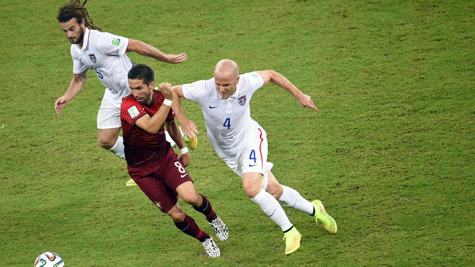 Michael Bradley, right, covered almost 24 miles of distance in the USA's three group games in the World Cup.