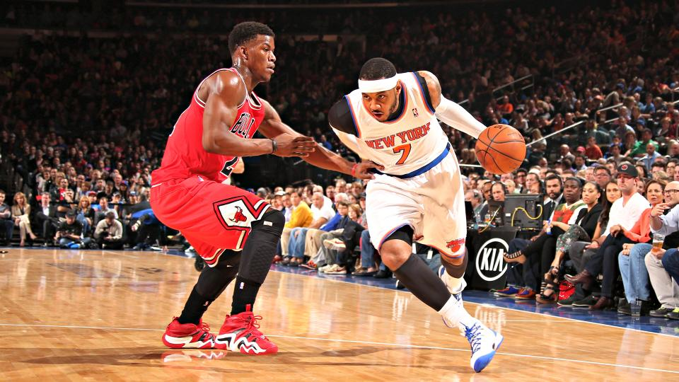 Carmelo Anthony and Jimmy Butler (left) may not be opponents next season.