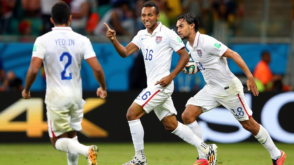 Julian Green, center, scored after coming off the bench in extra time of the USA's 2-1 loss to Belgium in the World Cup's round of 16.