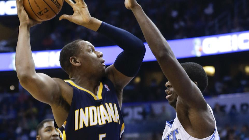 Indiana Pacers' Lavoy Allen shoots over Orlando Magic's Andrew Nicholson