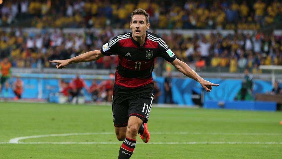 Miroslav Klose of Germany celebrates after scoring his record-breaking 16th World Cup goal.