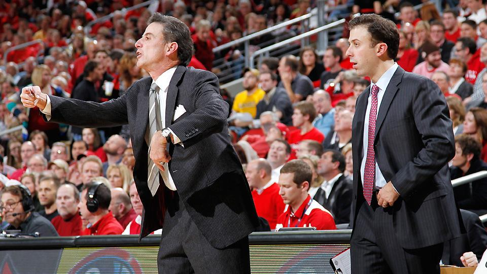 The next head coach of the Cardinals could have the same last name as the current one if ex-Louisville assistant Richard Pitino (right) follows his father, Rick.