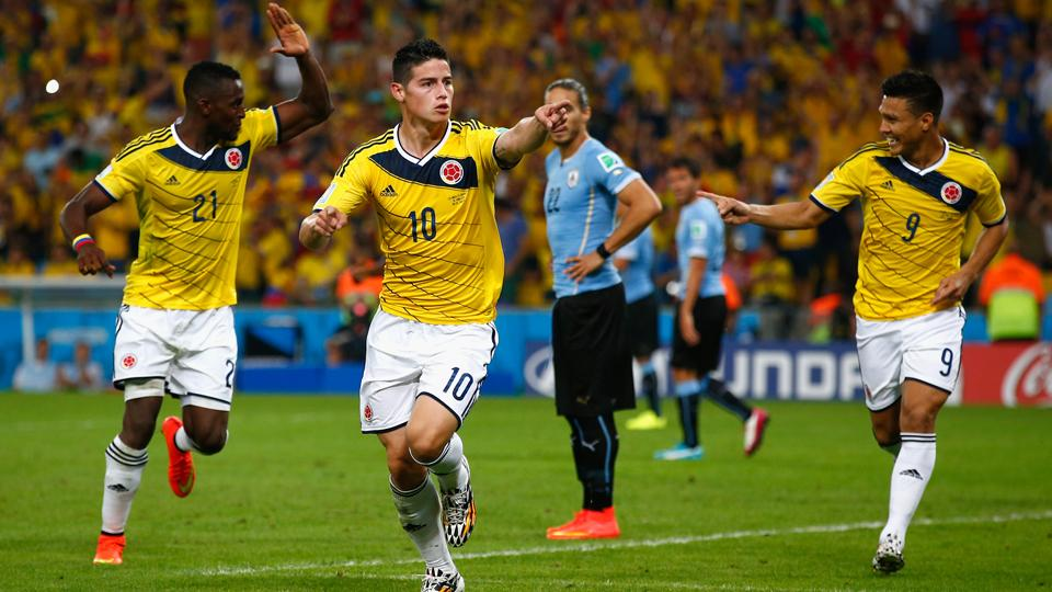 Colombia's James Rodriguez (10) celebrates after scoring one of his six goals at the 2014 World Cup.