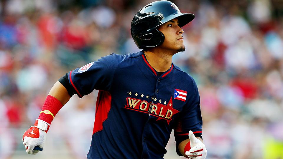 Cubs prospect Javier Baez knocked in the first run of the 16th annual Futures Game on a solo home run in the sixth inning off Nationals lefty Lucas Giolito.