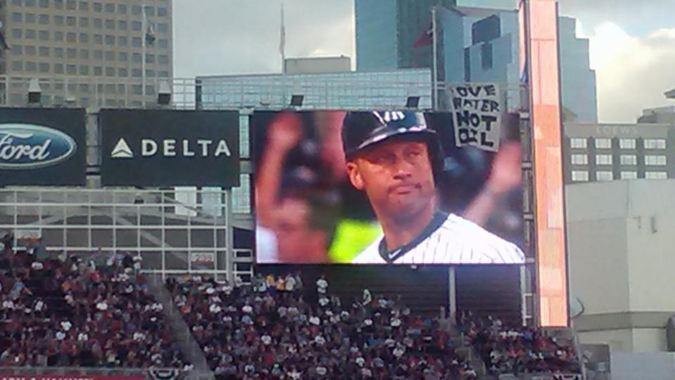 Activist obscures All-Star scoreboard with giant banner