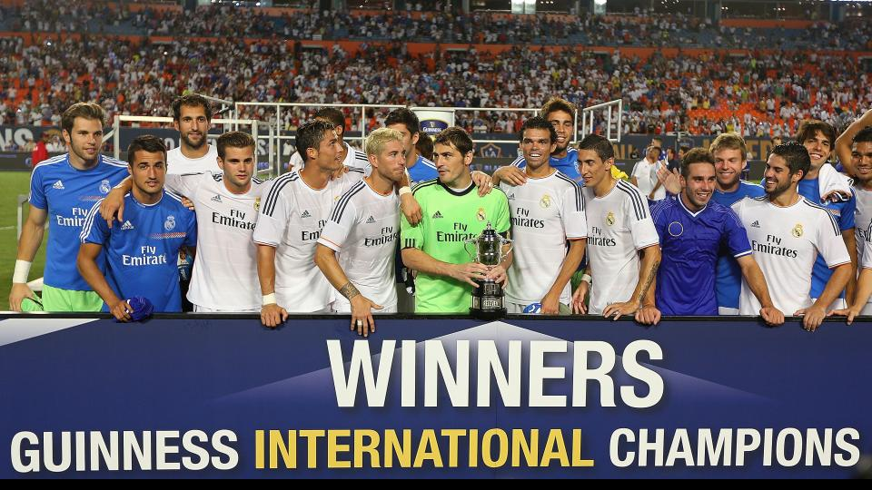 Real Madrid celebrates winning the International Champions Cup Championship match against Chelsea at Sun Life Stadium on August 7, 2013 in Miami Gardens, Florida.