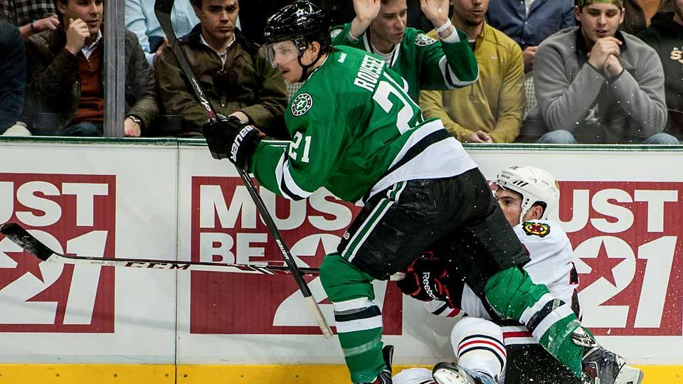An arbitrator decided that pesky forward Atoine Roussel (21) was worth an average of $2 million per season to the Stars.