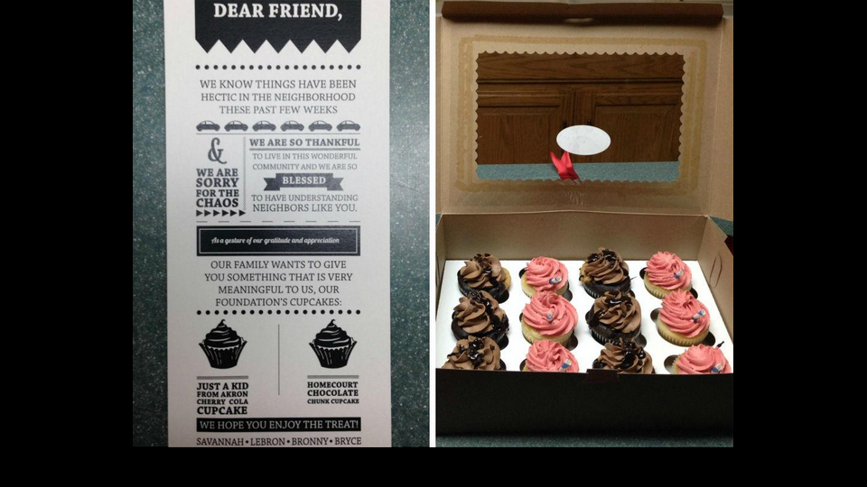 LeBron James sent cupcakes to his neighbors. Say what?