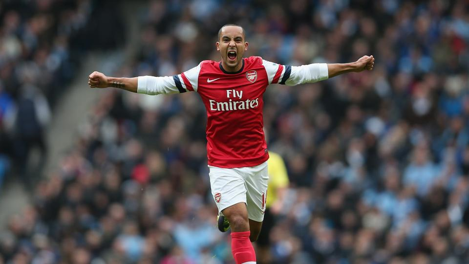 Theo Walcott of Arsenal celebrates after scoring a goal during the Barclays Premier League match between Manchester City and Arsenal. Movie theaters across the United States will be showing EPL matches live this season.
