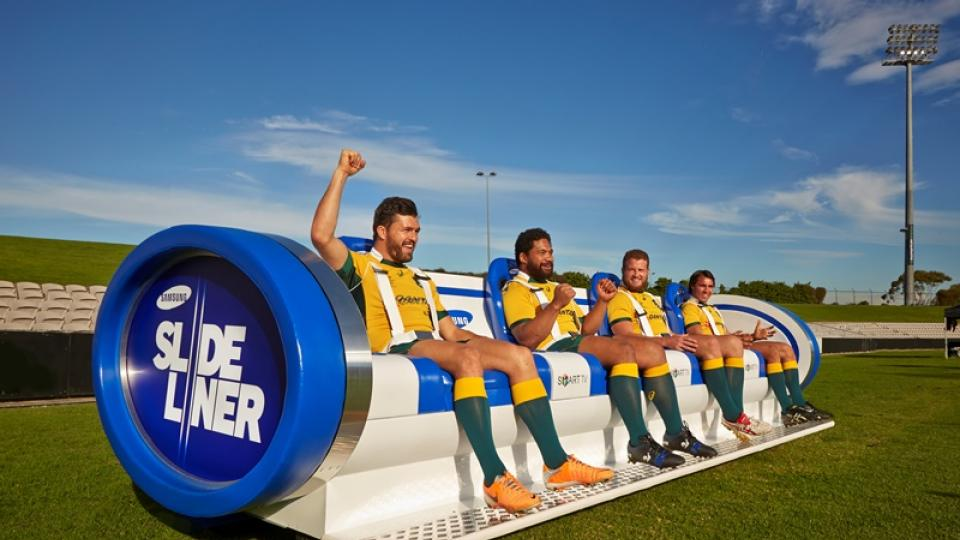 New rugby sideline seats slide along with game action