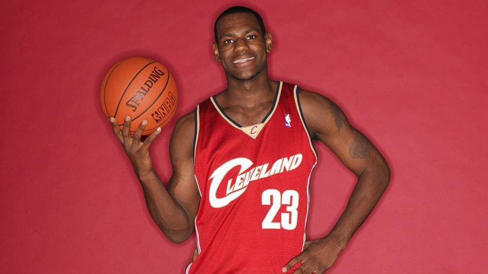 LeBron James sports a Cavaliers jersey bearing No. 23 during his 2003 rookie photo shoot.