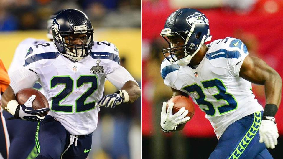 Robert Turbin (left) and Christine Michael (right) have done 'a tremendous job' in Lynch's absence, according to coach Pete Carroll.