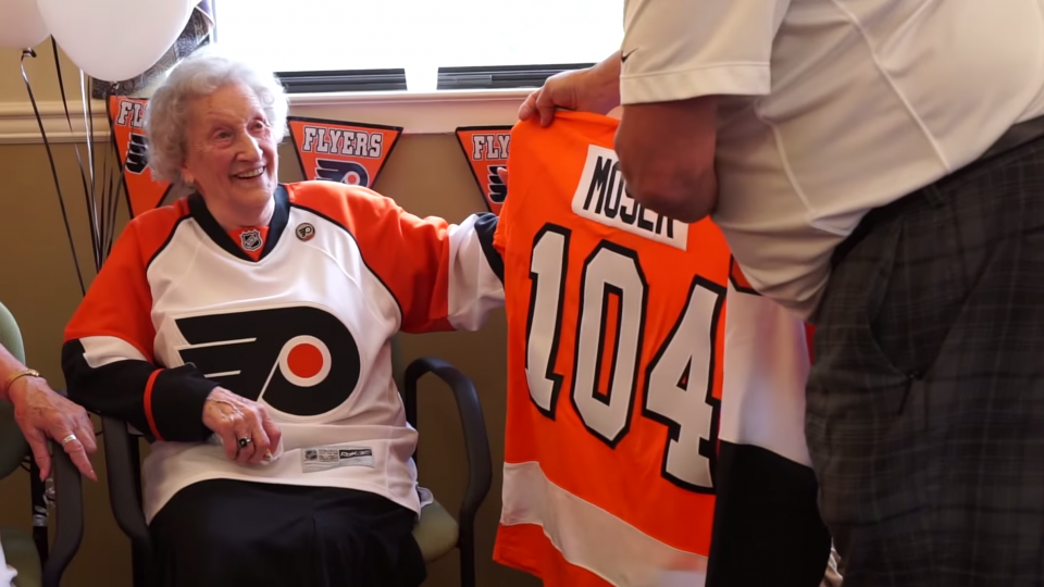 Flyers surprise 104-year-old fan for her birthday