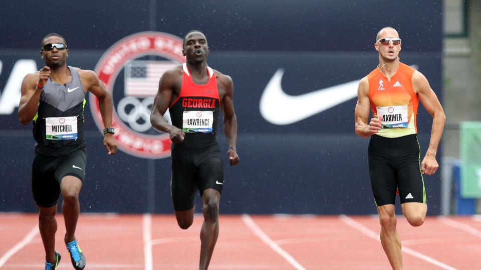(L-R) Manteo Mitchell, Torrin Lawrence and Jeremy Wariner during Day Two of the 2012 U.S. Olympic Track & Field Team Trials at Hayward Field on June 23, 2012 in Eugene, Oregon.