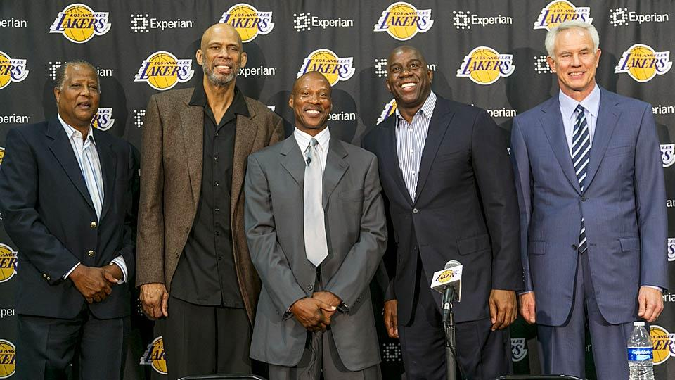 The Lakers introduced Byron Scott (center) as their new head coach Tuesday, alongside (L-R): Jamaal Wilkes, Kareem Abdul-Jabbar, Magic Johnson and GM Mitch Kupchak.