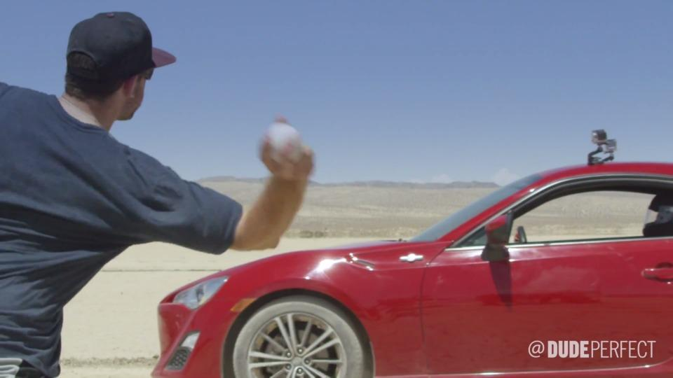 Dude Perfect takes some cars out to the desert for cool baseball tricks