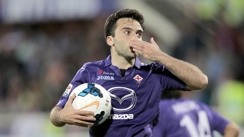 Giuseppe Rossi of ACF Fiorentina celebrates after scoring a goal at Stadio Artemio Franchi on May 6, 2014 in Florence, Italy.