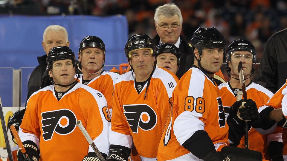 John Leclair (third from left) and Eric Lindros (88) were members of the Flyers' famed Legion of Doom line in the 1990s.