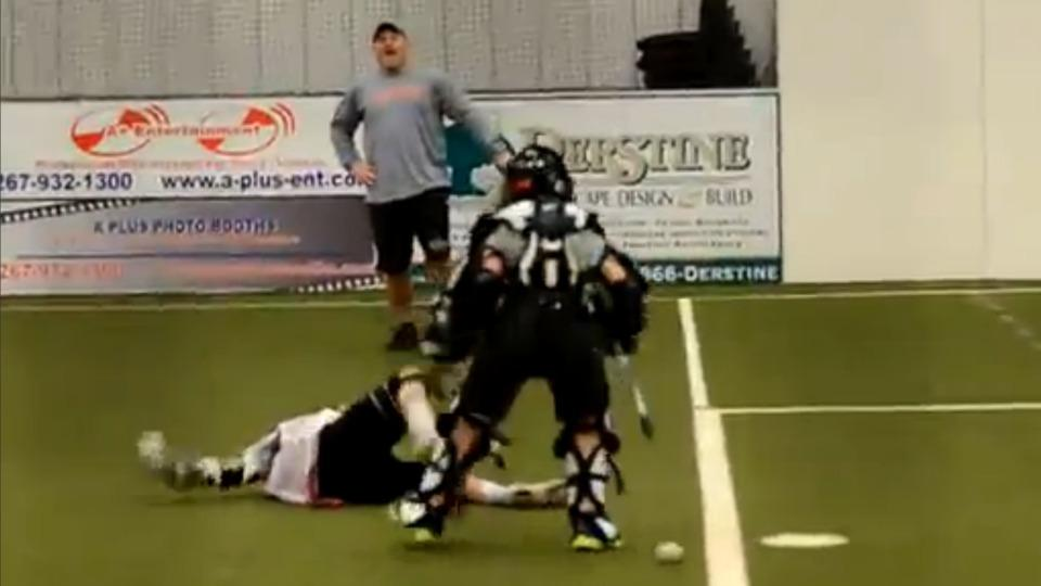 Youth lacrosse goalie knocks out penalty shooter