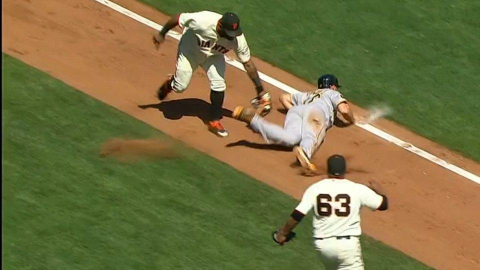 The Giants turned a walk into a double play thanks to the Pirates terrible baserunning