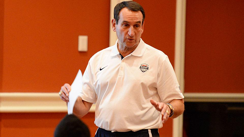 Team USA head coach Mike Krzyzewski addresses his players in a team meeting before leaving for practice.