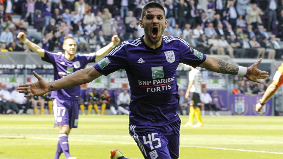 Anderlecht's Aleksandar Mitrovic celebrates after scoring the 1-0 goal during the Jupiler Pro League match of Play-Off 1 on May 18 2014 in Brussels.