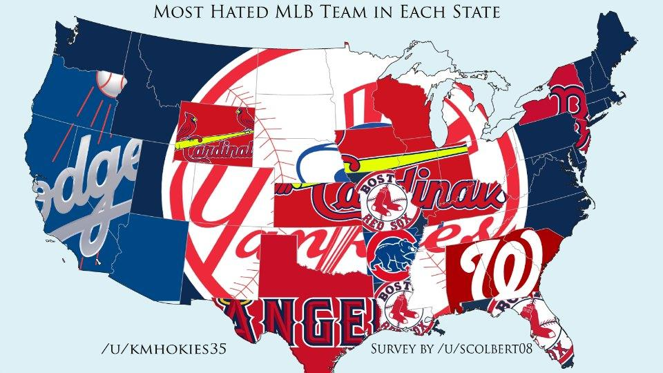 Map shows each state's most hated MLB team