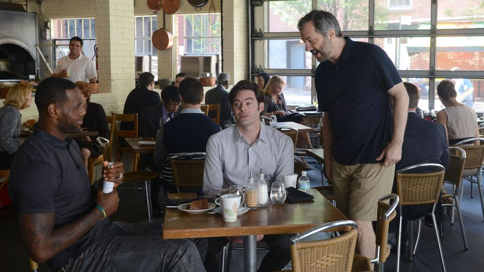 LeBron James with Judd Apatow (right) on the set of Apatow's movie