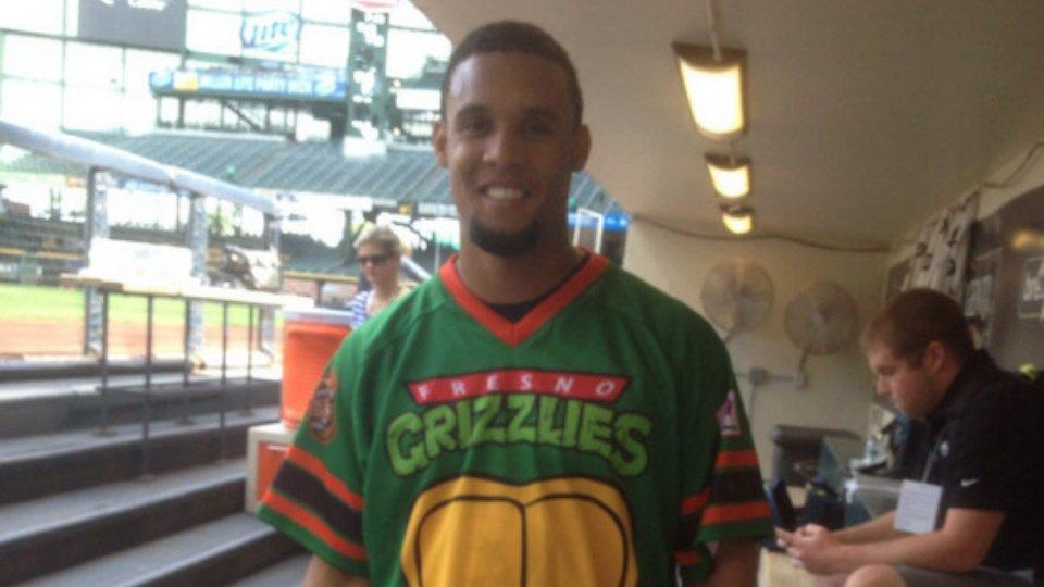 Brewers' Carlos Gomez is wearing the Fresno Grizzlies' Teenage Mutant Ninja Turtle jersey