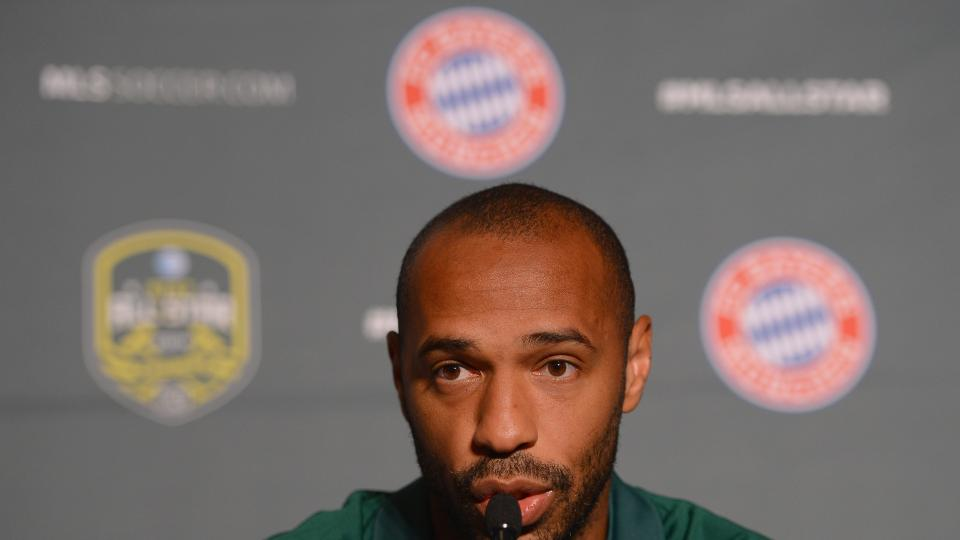 Thierry Henry of MLS All Stars is seen during a press conference prior to the friendly match between the MLS Allstars and FC Bayern Muenchen on August 4, 2014 in Portland.