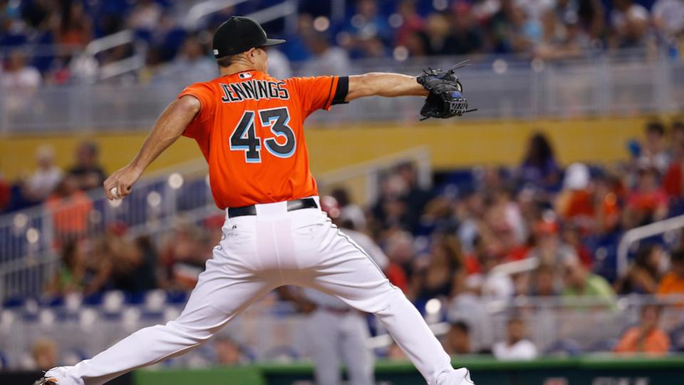 Marlins' Daniel Jennings leaves game after taking line drive to the head