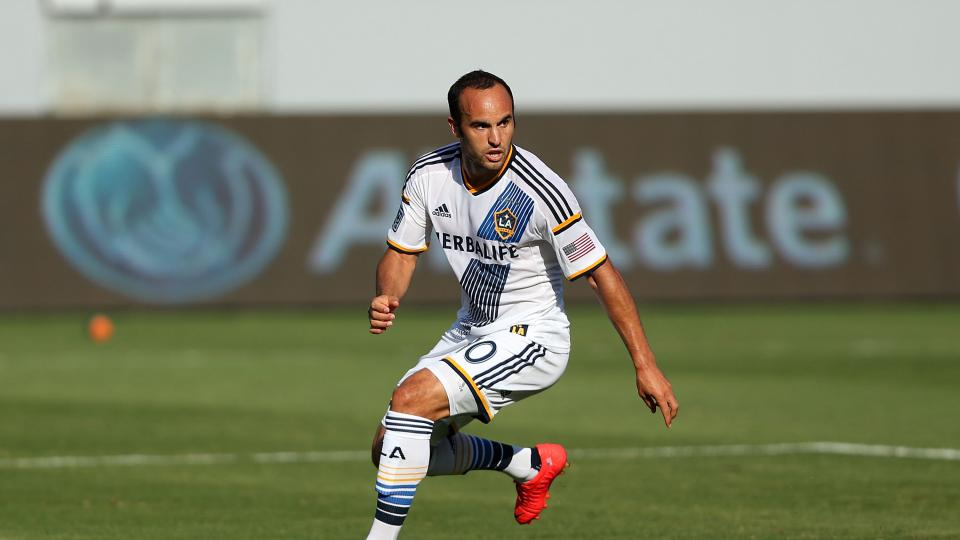 Landon Donovan of Los Angeles Galaxy in action in the first half during the MLS match against the Philadelphia Union at StubHub Center on May 25, 2014 in Los Angeles, California.