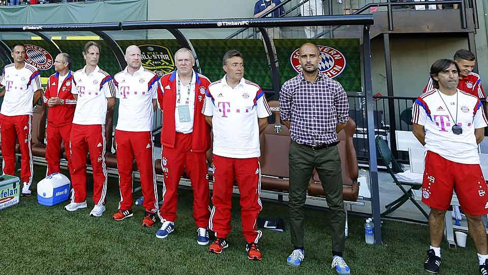 Bayern Munich manager Pep Guardiola (second from right) was none too happy with some of the challenges his players faced in Wednesday's MLS All-Star Game.